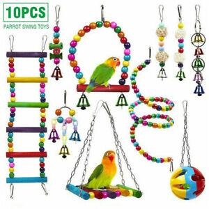 10x Set Vogelspielzeug Papageienspielzeug Schaukel Hängende Glocke Wellensittich