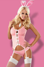 Obsessive Sexy Hop Bunny Costume Set Body Outfit 4 Piece Fishnet Stockings - Pin