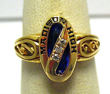 GOLD MADISON HIGH SCHOOL RING SIZE 5.75 BLUE CLEAR STONE 1998 SYBOLL