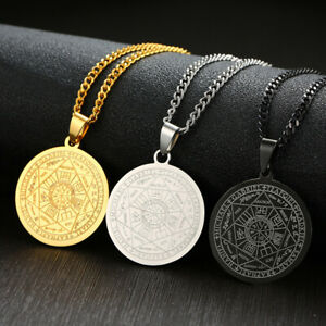 Seven Seals of The Archangels Coin Pendant Men Necklace Stainless Steel Jewelry