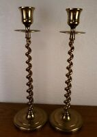 """Pair Of Solid Brass Twisted Candlestick Candle Holders 10.5"""""""