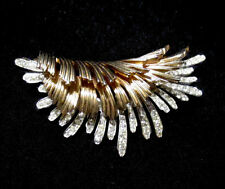 Outstanding MARCEL BOUCHER Brooch Vintage Rhinestones Gold Tone Signed Numbered