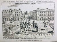 Louis 16 Place de la Concorde 1789 Rare Gravure d'époque Révolution Française