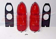 New Pair Lucas Tail Lamp Lens Set + Chrome Rims Gaskets Screws  MGB 1963-1969