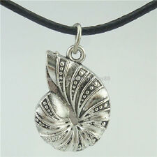 "Sea Snail Shell Pendant Alloy Silver Vintage 16"" Collar Choker Necklace 14984"
