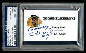 Bobby Hull signed autograph Chicago Blackhawks Ambassador Business Card PSA Slab
