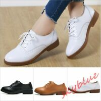 Womens PU Leather Wing Tip Shoes Lace Up Low Top Flat Brogue Shoes Oxfords Shoes