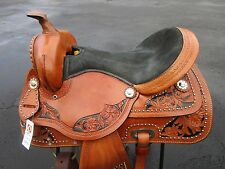 15 16 BARREL RACING SILVER STUDDED RACER PLEASURE LEATHER WESTERN HORSE SADDLE