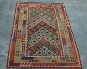 F93 Afghan Handwoven Maimana Vintage Kilim/Galmoori Shirazi Kilim 6'5 x 9'10 FT