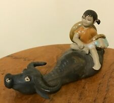 Mudmen Figurine Water Buffalo with Girl Riding Porcelain - Very Good Condition