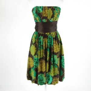 Brown green floral 100% silk PLENTY BY TRACY REESE strapless bubble dress 2