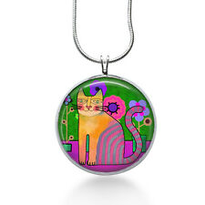 Folk Art Cat Necklace - Cats - Art Gift - Gifts for Her - Jewelry