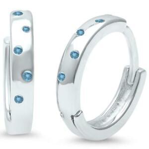Aquamarine Huggie Hoop Earrings in Solid Sterling Silver - Gift Box included