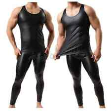 Mens Sexy Faux Leather Tank Top T-Shirt V-Neck Underwear Clubwear Muscle Fitness