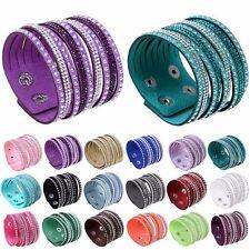 Womens Leather Wrap Wristband Cuff Multilayer Crystal Rhinestone Bracelet Bangle