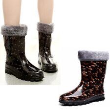 Women Rubber Rain Boots Fur Lined Waterproof Mid Calf Flat Comfort No-Slip Shoes