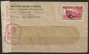 Congo 1943 Window Cover Opened by Examiner 'PASSED' Cancelled to Elizabethville