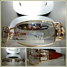 Men's CLASSIC VINTAGE RETRO Style SUN GLASSES Gold Frame Clear Lens Mirror Tint