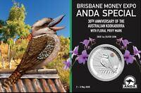 2020 KOOKABURRA  ANDA 30th Anniversary Orchid Privy 1oz Silver Coin on Card