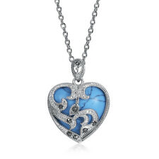 925  Silver sterling  Family Marcasite   Turquoise Heart Necklace Pendant