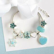Ice Princess Blue Charm Bracelet Jewellery - Children's Size Birthday Christmas