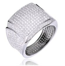 Men's  14k Gold Plated All Around CZ Band Fully Hand Setting Pinky Ring