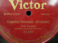 Fritz Kreisler Caprice Viennois - Victor Single Side - 12 inch 78 RPM