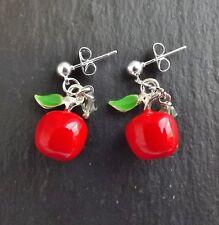Red apple enamel crystal drop earrings .. fruit cute pendant green jewellery