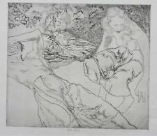 John Copley signed etching 'Two girls by a stream', 1948, British Modern
