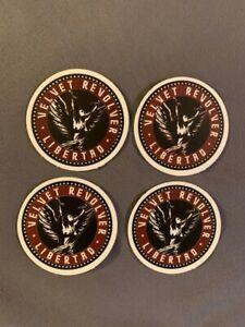 """Lot of 4 VELVET REVOLVER 1 1/2"""" x 1 1/2"""" Band Logo Sticker Black Red White FAST!"""