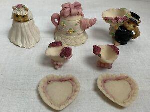 Vintage Miniature Porcelain Doll House Bear Set