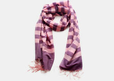 Light Pink Striped Purple 100% Water Pashmina Shawl