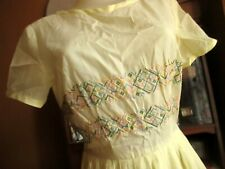 sz 8/10 True Vtg 50s SHEER YELLOW EMBROIDERED CROSS HATCH COUNTRY A-LINE Dress