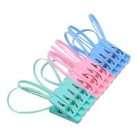 12P Assorted Color Clothespins Hook Laundry Clips Clothing Drying Hangers Peg 6L