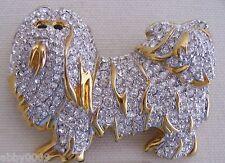 Signed Swan Swarovski Shih Tzu or Maltese Dog Brooch Pin