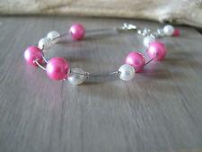 Bracelet couleur Ivoire/Rose/Fushia pr robe de Mariée/Mariage/Soirée, perles
