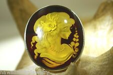 925 Silver Genuine Baltic Honey Amber Intaglio Cameo Lady Brooch Pin Pendant #3