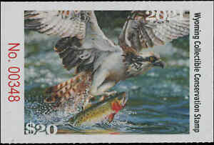 WYOMING  #38 2021 STATE CONSERVATION / DUCK STAMP OSPREY/FISH by Justin Hayward