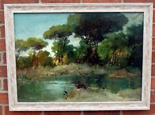 More details for postwar vintage australian impressionist school oil painting gum trees inscribed
