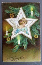 JOYEUX NOEL MERRY CHRISTMAS. ANGE. CARTE POSTALE ANCIENNE GAUFREE.