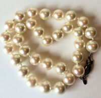 "Vintage RMN Glass Faux Pearl Necklace Beaded Silver Tone Clasp Length 17"" inch"