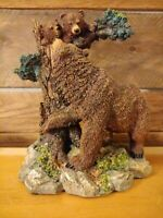 """Beutiful Painted Poly-Resin Figurine Of Grizzly Bear & Cubs In Tree 8"""" x 7"""" x 5"""""""