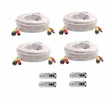 100 Feet - 4 Pcs  BNC Video and Power Cable for Security Camera CCTV Systems
