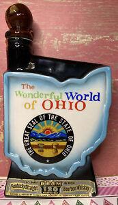 Jim Beam Whiskey Decanter The Wonderful World of Ohio Shaped Glass Bottle 1966