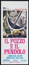 LOCANDINA, IL POZZO E IL PENDOLO The Pit and the Pendulum CORMAN HORROR POSTER