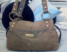 Kenneth cole reaction  beige cotton &  leather handbag shoulder bag