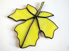 Art Glassware StainedGlass Maple Leaf-Yellow Coloured Glass Suncatcher