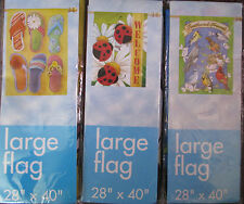 Large Decorative Flag-Flip Flops, Feathered Friends Or Ladybugs-28x40 Choose 1
