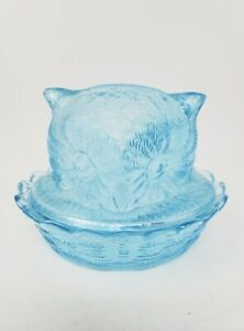 RARE MCM Ice Blue LG Wright Glass Owl Bowl With Lid on Braided Nest, Candy Dish