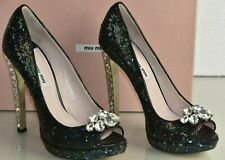 Miu Miu Prada Jewel CRYSTALS Heels Black Palettes Evening Shoes 38 38.5 39
